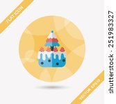 christmas cake flat icon with... | Shutterstock .eps vector #251983327