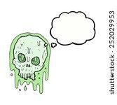 cartoon slimy skull with...   Shutterstock . vector #252029953