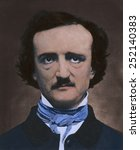 Small photo of Edgar Allan Poe (1809-1849), American author and poet in 1848 daguerreotype portrait with modern color.