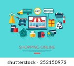 e commerce  pay online and... | Shutterstock .eps vector #252150973