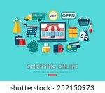 online shopping concept. vector ... | Shutterstock .eps vector #252150973