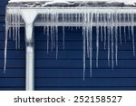 Icicles On The Roof. Winter...