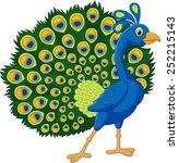 cartoon green peacock | Shutterstock . vector #252215143