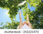 a little girl try to catch... | Shutterstock . vector #252221473
