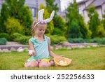 adorable little girl wearing... | Shutterstock . vector #252256633