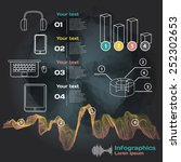 infographics with sound waves... | Shutterstock .eps vector #252302653