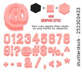 set of bubble gum letters and... | Shutterstock .eps vector #252303433