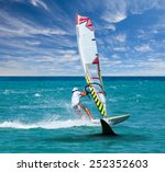surfing board on wave and... | Shutterstock . vector #252352603