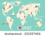 cartoon map with sportsmen | Shutterstock .eps vector #252357403