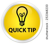 quick tip  bulb icon  yellow... | Shutterstock . vector #252368233