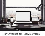 3d rendering of workspace | Shutterstock . vector #252389887