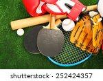 sports equipment on grass... | Shutterstock . vector #252424357