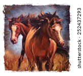 Two Horses Vintage Painting...