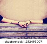 two people holding hands on a... | Shutterstock . vector #252495007