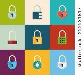 different padlocks icon set.... | Shutterstock .eps vector #252531817