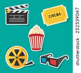 vector set of cinema icons. | Shutterstock .eps vector #252539047