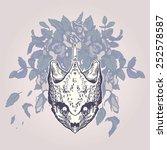 turtle skull on a flower... | Shutterstock .eps vector #252578587