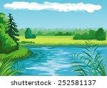 summer landscape with pond | Shutterstock .eps vector #252581137