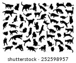 Stock vector silhouettes of cats 252598957
