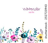 watercolor floral background.... | Shutterstock .eps vector #252723943