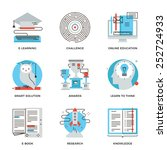thin line icons of e learning... | Shutterstock .eps vector #252724933