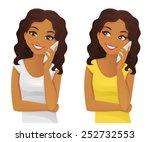 black woman phone talking | Shutterstock .eps vector #252732553