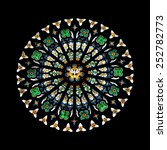 vector rose stained glass church window round Cathedral