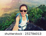 Woman Hiker Taking Self Photo ...