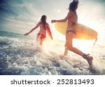 two young ladies surfers... | Shutterstock . vector #252813493