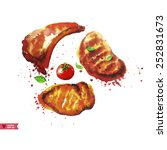 set of steaks.all elements on... | Shutterstock .eps vector #252831673