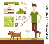 Stock vector young man walking dog elements of info graphics modern flat illustration poster 252842023