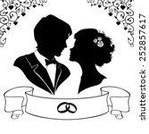 elegant silhouette of the bride ... | Shutterstock .eps vector #252857617