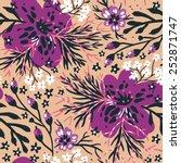 vector floral seamless pattern...   Shutterstock .eps vector #252871747