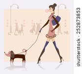 girl with dog | Shutterstock .eps vector #252873853