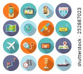 navigation flat icons set with...