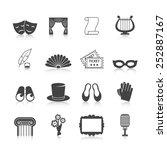 theatre icon set black with...