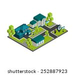 isometric town concept with 3d...   Shutterstock .eps vector #252887923