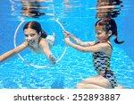 kids swim in pool underwater ... | Shutterstock . vector #252893887