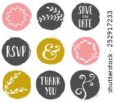 a set of 9 hand drawn paint... | Shutterstock .eps vector #252917233