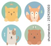 Stock vector animal set portrait in flat graphics red cat fox dog and bear 252925003