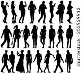 black silhouettes of beautiful... | Shutterstock .eps vector #252939913