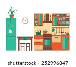 kitchen with furniture. flat... | Shutterstock .eps vector #252996847