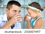 cute little girl with his... | Shutterstock . vector #253007497