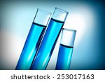 test tubes with blue fluid ... | Shutterstock . vector #253017163