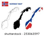 norway map vector  norway flag... | Shutterstock .eps vector #253063597