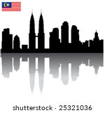 Black vector Kuala Lumpur silhouette skyline with Malaysia flag - stock vector