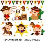 cowboy kids vector set | Shutterstock .eps vector #253249687