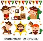 Cowboy Kids Vector Set