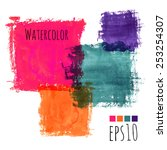 colorful watercolor stains ... | Shutterstock .eps vector #253254307