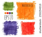 colorful watercolor stains ... | Shutterstock .eps vector #253254313